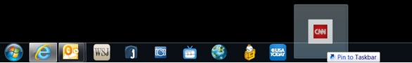 A user drops the tab on the taskbar to pin the site to the taskbar