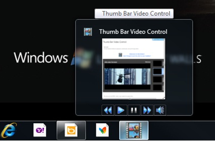 Thumbnail toolbar buttons to control video