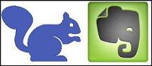 Sammeln wie ein Eichhörnchen: Das Logo der Memonic-App (l.). Der Elefant der Evernote-App steht für das Online-Gedächtnis (r.).