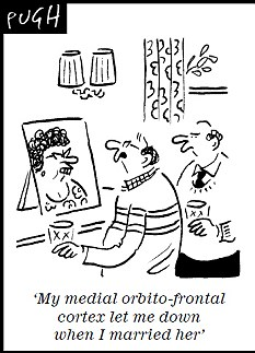 'My medial orbito-frontal complex let me down when I married her'