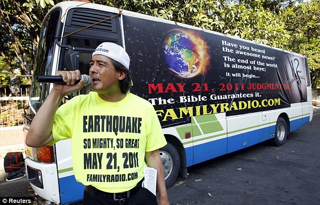 Abroad church: Filipino-American Joel Abalos, 48, spreads the word of Family Radio on the streets of Manila
