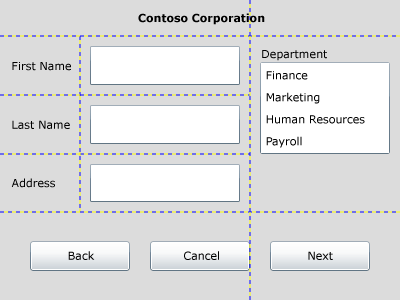 Image: Application layout example requiring horizontal and vertical alignment.