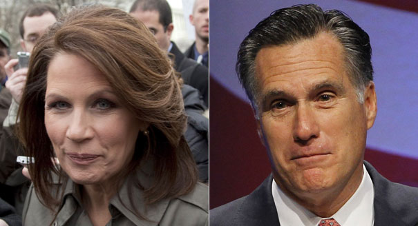 Michelle Bachmann and Mitt Romney are shown in a composite. | AP Photos