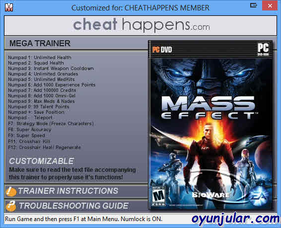 mass effect 1 cheats pc
