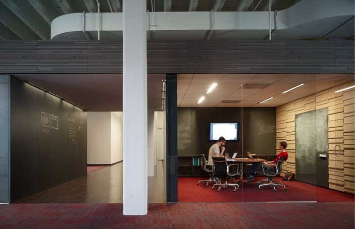 Photo of a conference room with glass walls in the 37signals office
